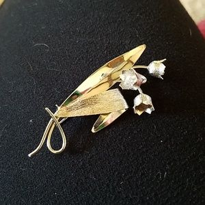 Vintage sterling silver lily of the valley brooch